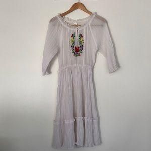 1970s Vintage Embroidered Peasant Prairie Dress